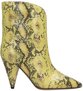Isabel Marant Leinee High Heels Ankle Boots In Yellow Leather