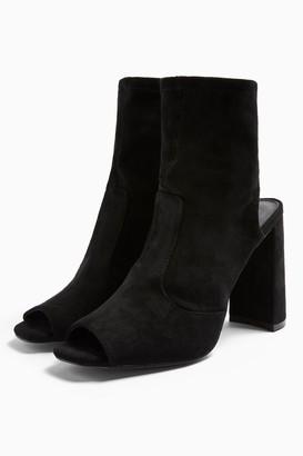 Topshop Womens Sindy Black Stretch Zip Boots - Black