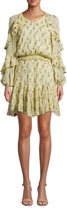 Nicole Miller Clipped Rose Long-Sleeve Blouson Ruffle Dress