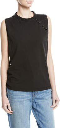 Olivier Theyskens Sleeveless Raglan Tank w/Hook-and-Eye Trim