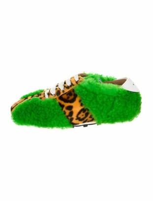 Marni Shearling Animal Print Sneakers w/ Tags Green