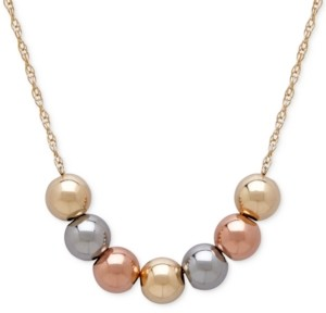 Italian Gold Tri-Tone Beaded Statement Necklace in 10k Yellow, White and Rose Gold