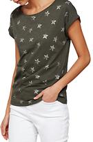 Mint Velvet Metallic Star T-Shirt, Khaki