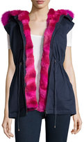 Pologeorgis Twill Fur-Trim Drawstring Vest, Navy/Fuchsia
