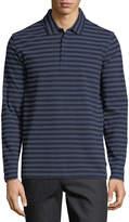Bugatchi Long-Sleeve Striped Polo Shirt, Navy