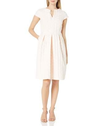 Helene Berman Women's Contrast V Neck Spot Dress