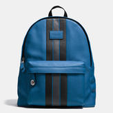 Coach Modern Varsity Stripe Campus Backpack In Pebble Leather
