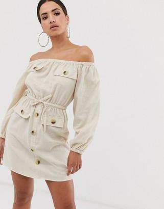 Asos Design DESIGN off shoulder utility mini dress with pocket detail-Cream