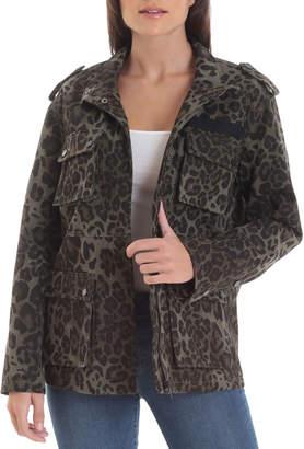 AVEC LES FILLES Leopard-Print Cotton Cargo Jacket