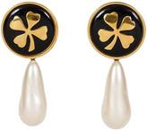 One Kings Lane Vintage 1970s Chanel Clover Drop Pearl Earrings - Vintage Lux - cream/black/gold