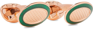 Kingsman + Deakin & Francis Engraved Rose Gold-Plated And Enamel Cufflinks