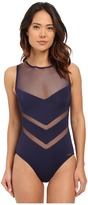 Vince Camuto Luxe Mesh High Neck Maillot w/ Zipper Back