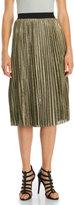 Lush Metallic Pleated Midi Skirt