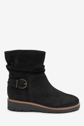 Next Womens Black Forever Comfort Wedge Slouch Ankle Boots - Black