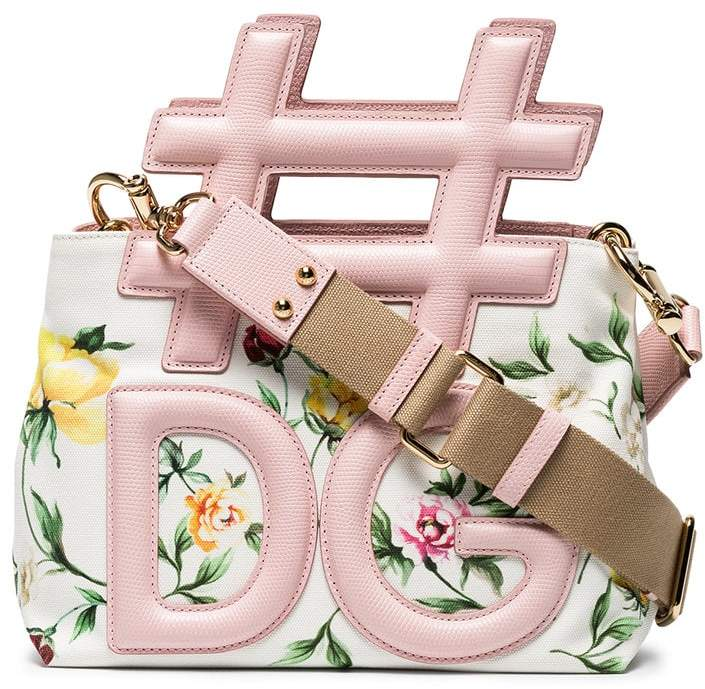 Dolce & Gabbana Cream and Pink Hashtag Floral Leather Shoulder Bag