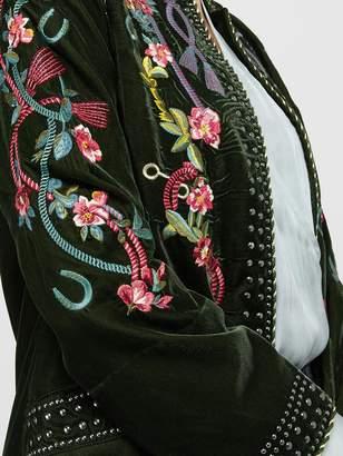 Monsoon Callie Embroidered Velvet Jacket - Olive
