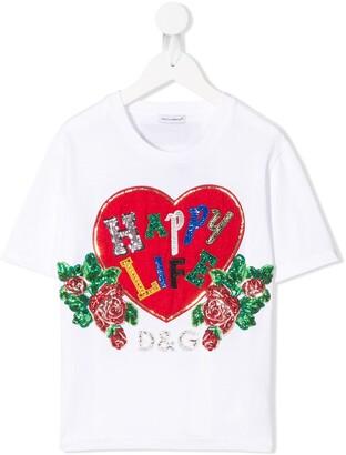 Dolce & Gabbana Kids sequin embroidered T-shirt