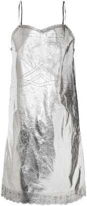 MM6 MAISON MARGIELA Metallic Coated-shell Slip Dress