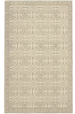 French Connection Lipson Stonewash Printed Cotton Beige/Gray Area Rug Rug Size: Rectangle 4' x 6'