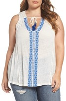 Lucky Brand Plus Size Women's Embroidered Tie Neck Top
