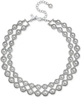 Kate Spade Silver-Tone Imitation Pearl and Pavé Double Strand Collar Necklace