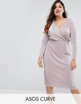 Asos Plisse Wrap Front Midi Dress