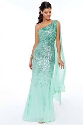 Goddiva Mint One Shoulder Sequin & Chiffon Maxi Dress