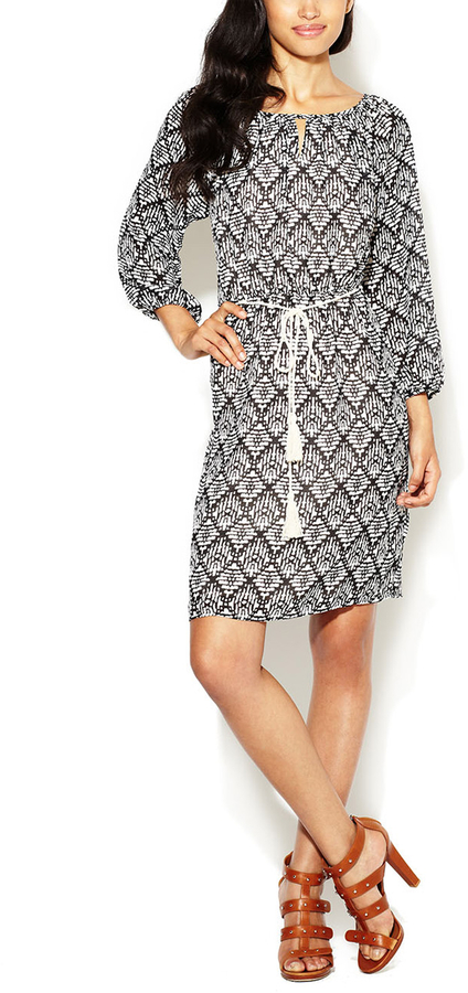 3/4 Sleeve Tassel Tie Dress