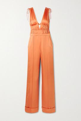 Jonathan Simkhai Jocelyn Gathered Cutout Hammered-satin Jumpsuit - Orange