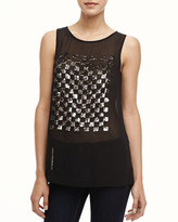 French Connection Checkmate Sheer Sequined Top
