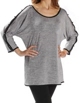 Joseph Ribkoff Grey Sweater Tunic with Open Sleeves & Accents Style 171455