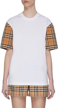 Burberry Check Sleeve Detail T-shirt