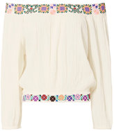 Melissa Odabash Daisy Embroidered Off The Shoulder Top