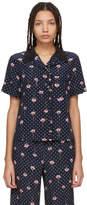 Miu Miu Navy Floral Polka Dot Pyjama Shirt