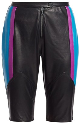 artica-arbox Colorblock Leather Bike Shorts