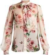 Dolce & Gabbana Rose-print tie-neck chiffon blouse