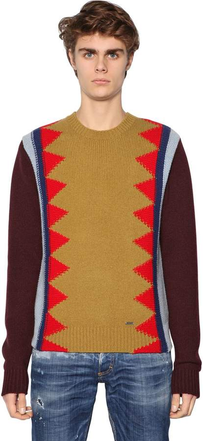 DSQUARED2 Crew Neck Wool Blend Sweater