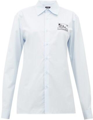 Raf Simons Slim-fit Logo-embroidered Cotton-poplin Shirt - Womens - Light Blue