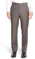 JB Britches Men's Flat Front Solid Wool Trousers