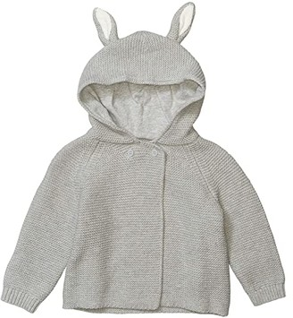 Stella Mccartney Kids Knit Hooded Cardigan with Ears (Infant) (Grey) Kid's Clothing
