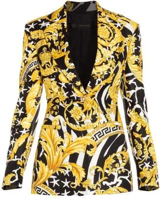 Versace Savage Baroque Silk One-Button Blazer