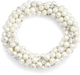 Charter Club Silver-Tone Glass Pearl Clear Crystal Cluster Stretch Bracelet