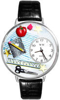 Whimsical Watches Personalized Teacher Womens Silver-Tone Bezel Black Leather Strap Watch