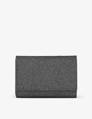 LK Bennett Danni glitter-embellished woven clutch bag