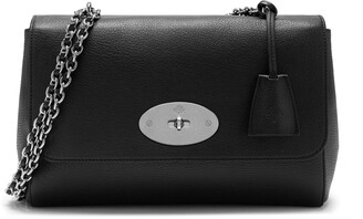 Mulberry Medium Lily Black and Silver Toned Glossy Goat