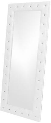 Baxton Studio Stella Crystal Tufted Modern Floor Mirror, White