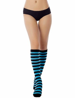 Ib Ip iB-iP Women's Sports Football Style Zebra Stripe Stocking Knee High Long Socks Size: One Size
