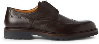 a. testoni A.Testoni Ebony Brogue Leather Derby Shoes