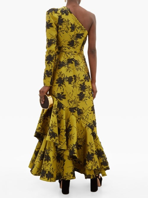 Thumbnail for your product : Erdem Doriana Floral-jacquard Fil-coupe Satin Gown - Yellow