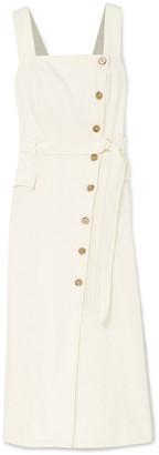 Nanushka Moun Belted Denim Wrap-effect Midi Dress